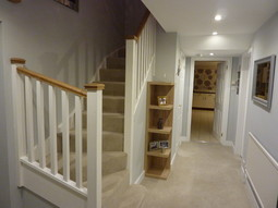 5516 Poupart. A Double Winder Stair Painted White With White Oak Handrails  ...