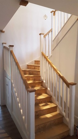 8 Kite Winder Staircase Painted White With Oak Handrail And Caps