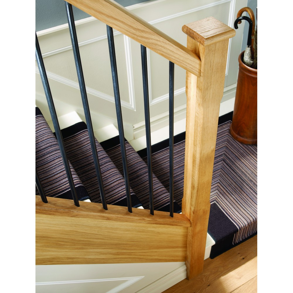 White Oak Elements Handrail pre drilled for metal balusters
