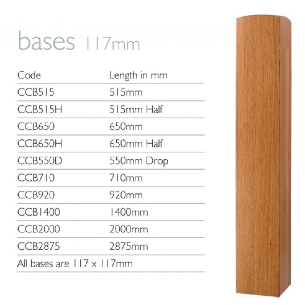 White Oak 117mm Drilled Newel Base Half