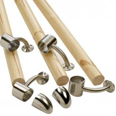 Fusion Wall Mounted Handrail Kit Pine With Brushed Nickel Finish Connectors