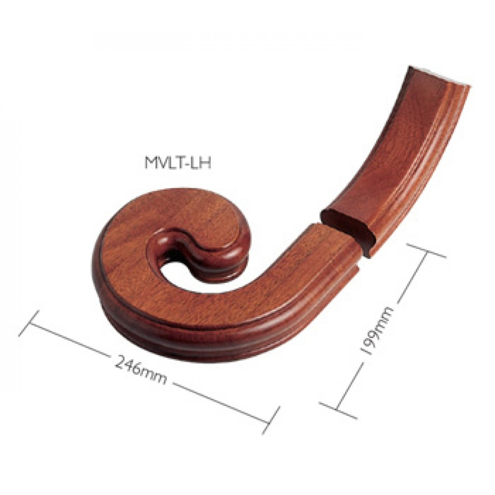 Sapele Signature Handrail Volute With Upramp - Left Handed