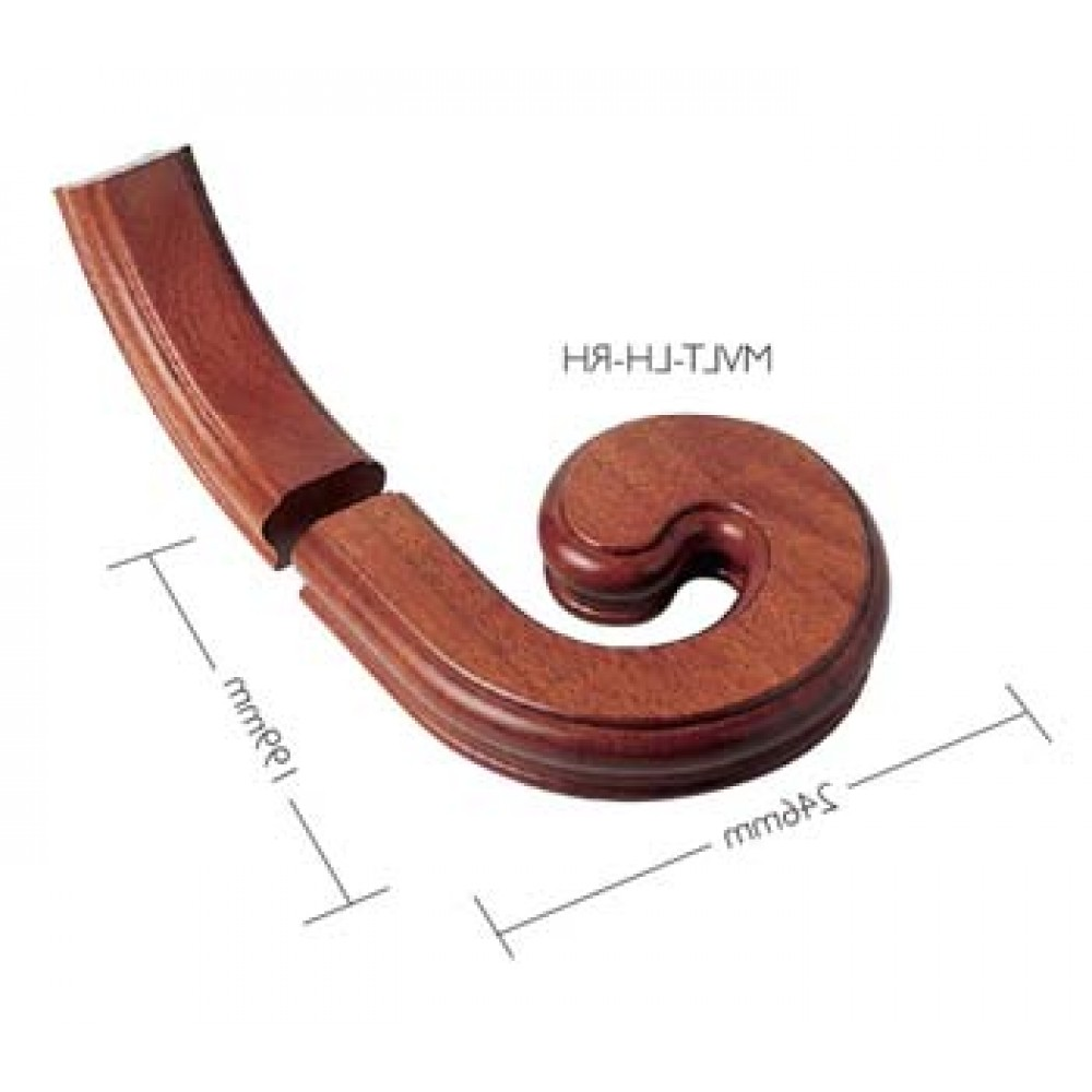 Sapele Signature Handrail Volute With Upramp - Right Handed