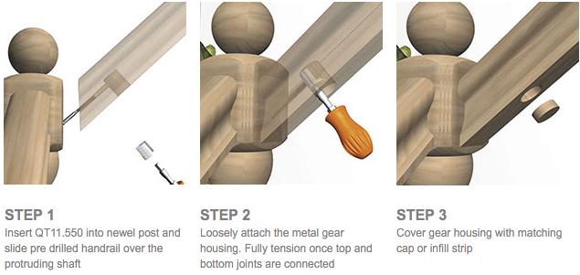 Zipbolt Handrail To Post Fixing Kit Angled