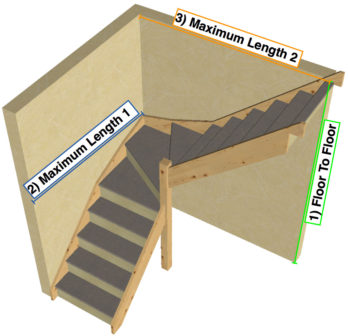 Tkstairs guide on how to measure a single turn staircase